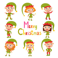 Set of cute little Christmas girls and boys elf smiling