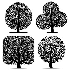 Set of four vector silhouettes of a tree isolated on a white background