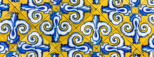 Colorful Vintage Style Ceramic Tile Pattern Texture and Background. Yellow, Blue and White Tiles for Floors and Walls.