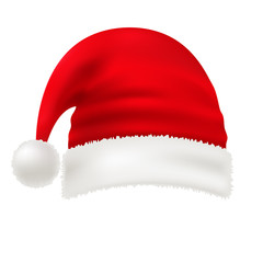 Vector red santa hat isolated on white transparent background. New Year hat with pompon. Traditional symbol of a christmas costume. Element of xmas design. Eps 10