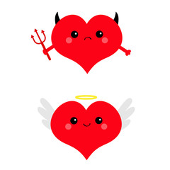 Red heart face head icon set. Devil Angel Evil amour. Trident horn wing nimbus. Cute cartoon kawaii character. Happy Valentines day sign symbol. Flat design. Greeting card. White background. Isolated.