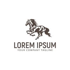 run horse logo design concept template