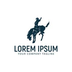 horseback riding logo design concept template