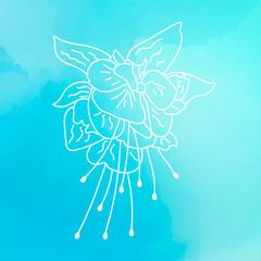 Fuchsia on blue watercolor background