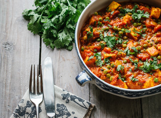 The Indian dish Mutter Paneer