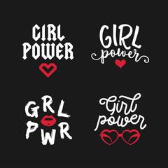 Girl power typography set. Vector vintage illustration.