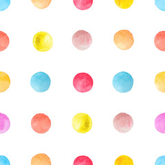 Colorful polka dots watercolor background