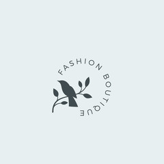 Fashion Boutique Abstract Vector Sign, Symbol or Logo Template. Bird on a Branch Silhouette with Modern Typography. Premium Quality Feminine Emblem. Good for Beauty Salon, SPA, Wedding Boutiques, etc.