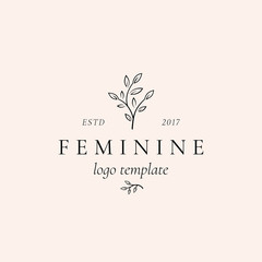 Abstract Feminine Vector Sign, Symbol or Logo Template. Retro Floral Illustration with Classy Typography. Premium Quality Emblem for Beauty Salon, SPA, Wedding Boutiques, etc.