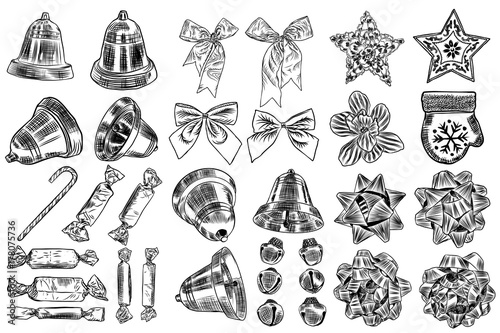 Vintage hand drawn traditional Christmas decorations for DIY, toys ...
