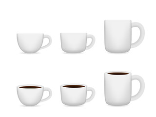White coffee cup on white, Vector for Mock Up