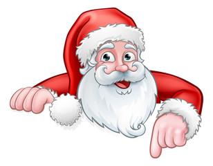 Santa Cartoon Pointing Down from Behind Sign