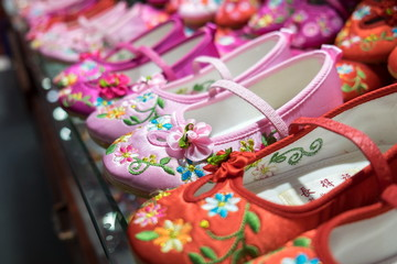 Traditional Chinese women shoes for sale at gift store
