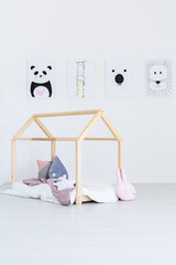 Child 's bed in bright bedroom
