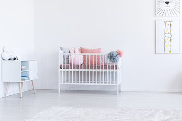 White child's interior with bed