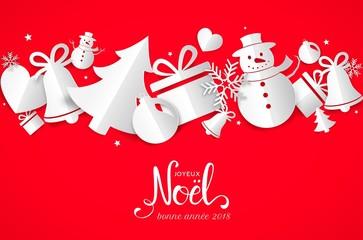 Carte de vœux 2018 avec décorations de Noël en papier
