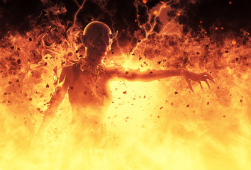 3D Illustration Demon Woman Burns In A Hellfire Wall mural