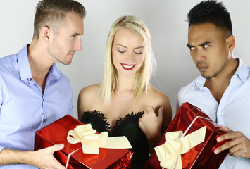 woman must choose one of men. competition of boyfriends with gifts