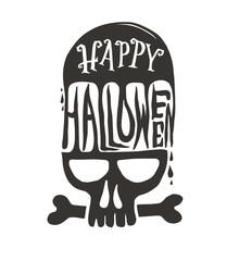 Happy Halloween with skull.