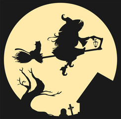 Black silhouette of witch flying on broom against full moon