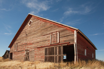 Old Red Barn, Blue Sky, Hay Farm
