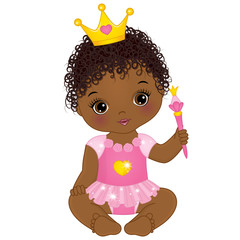 Vector Cute African American Baby Girl Dressed as Princess