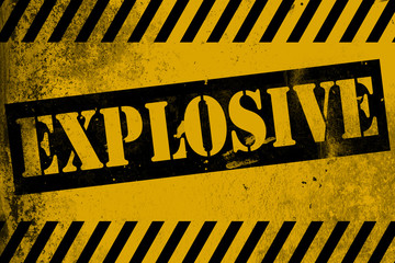 Explosive sign yellow with stripes