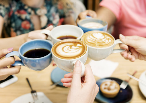 Friends having coffee together