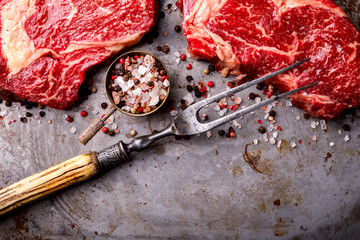 Raw Fresh Marbled Meat Beef Steak and Meat Fork  Seasonings on on the Gray Metal Background Pepper and Salt Ingredients for Cooking  Top View Copy space for Text