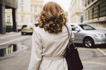 Back View of Businesswoman Walking