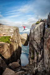 Wall Mural - Norway Kjeragbolten Jump
