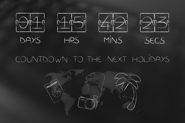 holidays countdown timer with travel objects and world map
