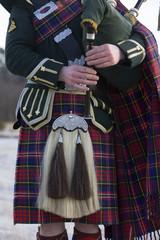 Close-up of Scottish Bagpiper.