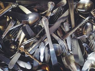 Bunch of antique silverware