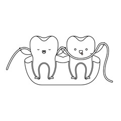 teeth cartoon and dental floss between them and holding hands in monochrome silhouette