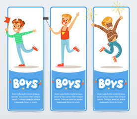 Banners with boys in costumes and with festive make up