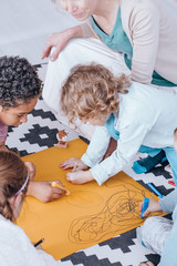 Kids drawing during creative activities