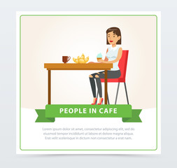 Young woman eating and drinking coffee while sitting at the table, people in cafe banner, flat vector elements for website or mobile app