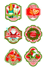 Christmas and New Year holiday badge design