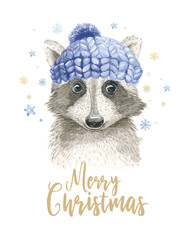Merry Christmas watercolor card with raccoon and floral elements. Happy New Year lettering posters. Winter swowflakes and branch decoration.