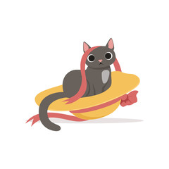 Cute funny gray cat playing with straw hat and ribbon vector Illustration