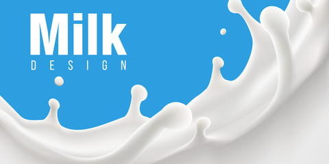 milk splash 3d vector backgrond illustration