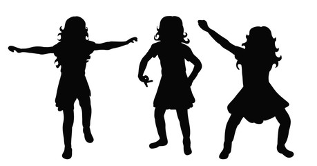 silhouette little girl dancing, isolated