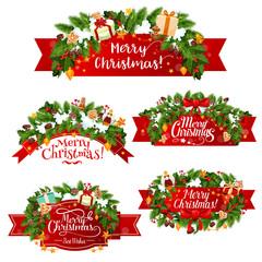 Christmas vector greeting ribbon decoration icons