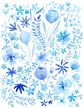 Watercolor blue floral background