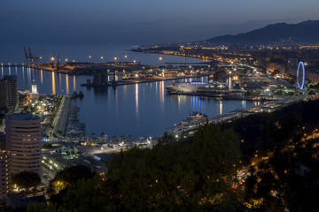 Panorama of Malaga at night