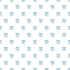 Christmas New Year seamless pattern with gift present. Holiday blue background. White trendy gift. Xmas winter doodle decoration. Festive texture. Hand drawn vector illustration. Wrapping gift paper.