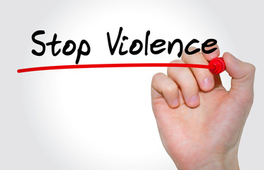 Hand writing inscription Stop Violence with marker, concept