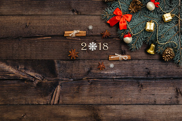 Sigh symbol from number 2018 on vintage style wooden texture background. Happy New Year 2018 greetings on wooden. snowflake wood. Empty space for your text. instead of zero snowflake