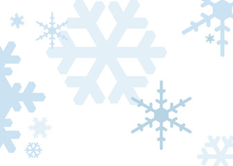 Snowflakes in pastel colours on white background; scalable vector graphics in landscape format